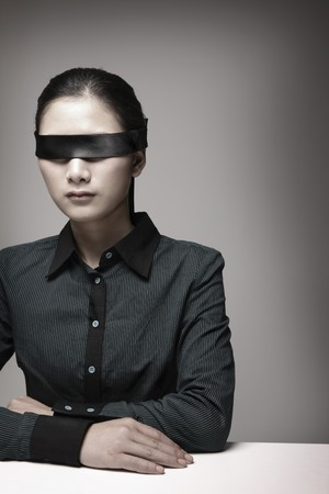 Woman with blindfold photo