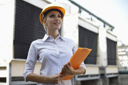 belarusian ethnicity: Female architect with clipboard Stock Photo