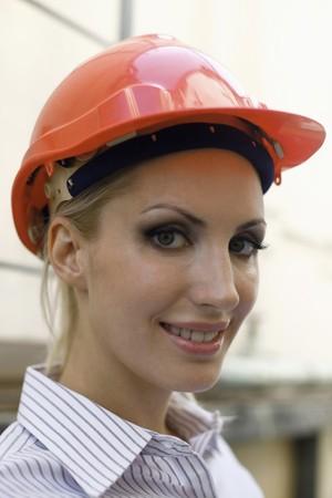 belarusian ethnicity: Female architect with hardhat Stock Photo