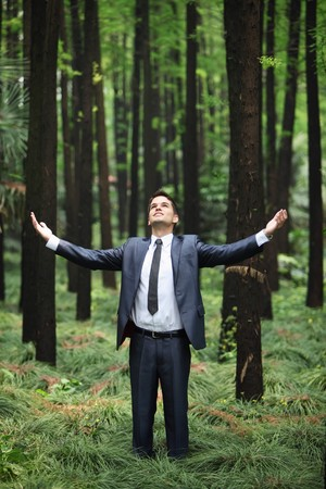 south western european descent: Businessman standing with arms outstretched in forest