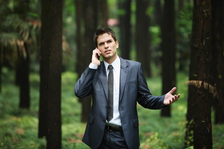 Businessman talking on the phone in forest Stock Photo - 8148642