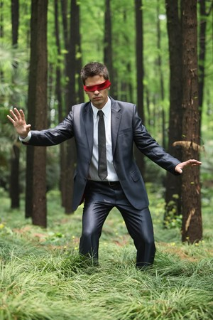 Businessman with blindfold walking aimlessly in the forest Stock Photo - 8149290