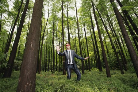 Businessman with blindfold walking aimlessly in the forest Stock Photo - 8149476