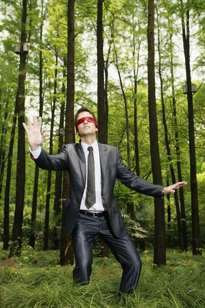 Businessman with blindfold walking aimlessly in the forest Stock Photo - 8149429