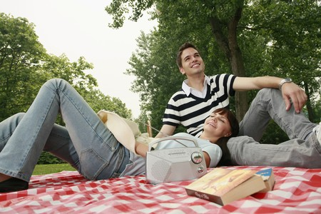 Man and woman having a picnic Stock Photo - 8149389
