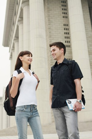 south eastern european descent: Man and woman talking