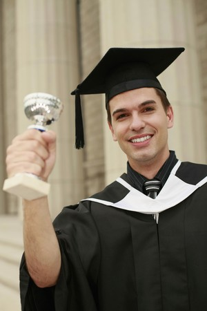 south western european descent: Graduate showing off his trophy