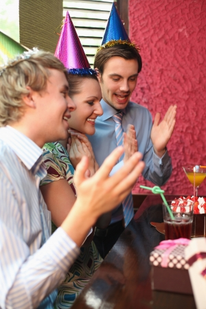 corporate image: Business people celebrating colleagues birthday Stock Photo