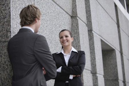 Business people talking to each other photo