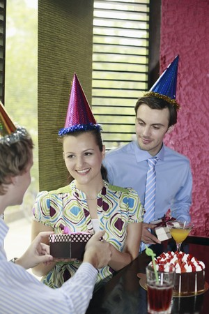 Business people celebrating colleague's birthday Stock Photo - 8149238