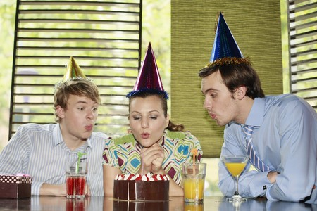 Business people celebrating colleague's birthday Stock Photo - 8149322