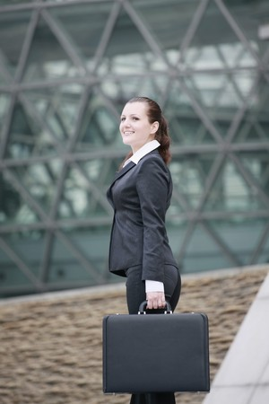 Businesswoman with a briefcase Stock Photo - 8148662