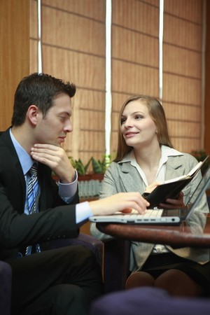 Business people having discussion at cafe Stock Photo - 8148874