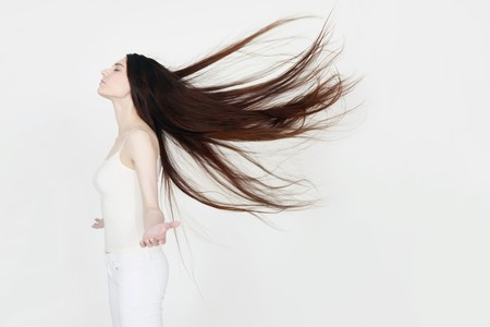 Woman with hair blowing in the wind Stock Photo - 8147995