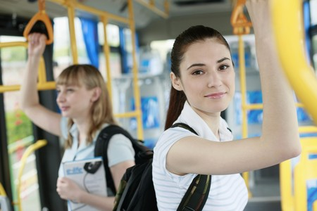 eastern european ethnicity: Women travelling in a bus Stock Photo