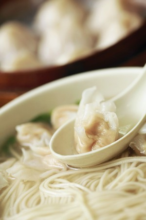 A bowl of noodles with chinese dumplings Stock Photo - 8190027