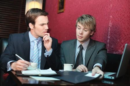 Businessmen having discussion photo