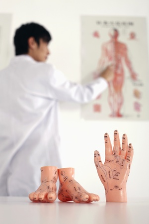 Anatomical models of human feet and hand with man in the background photo