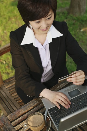 Businesswoman using laptop to shop online Stock Photo - 10570798