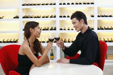 Young couple toasting wine photo