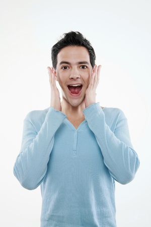 Surprised man with his mouth wide opened Stock Photo - 8536283