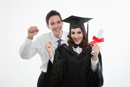 Graduate and man cheering  photo