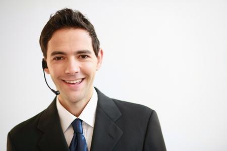 Businessman with telephone headset photo