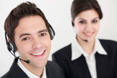 Business people with telephone headset photo