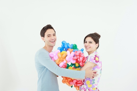 sculpted: Man and woman with sculpted balloons