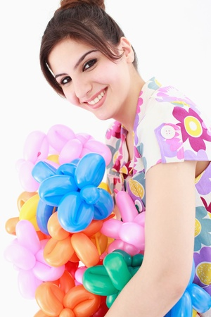 sculpted: Woman with an armful of sculpted balloons