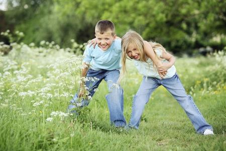 Boy and girl having fun Stock Photo - 8536278