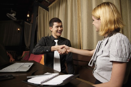 Businessman and businesswoman shaking hands Stock Photo - 8536869