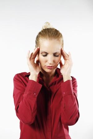 belarusian ethnicity: Businesswoman with headache