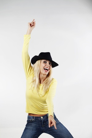 belarusian ethnicity: Woman with cowboy hat dancing