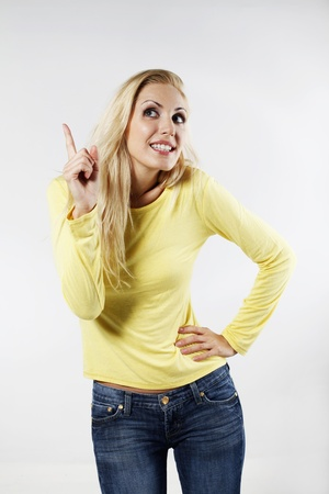 belarusian ethnicity: Woman with an idea Stock Photo