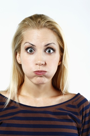 Woman with puffed cheeks photo
