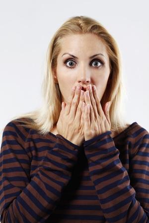 belarusian ethnicity: Woman in shock Stock Photo