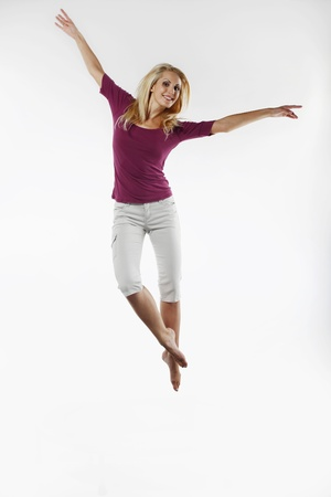 belarusian ethnicity: Woman jumping on a trampoline