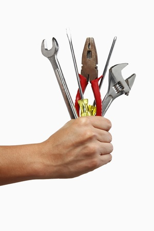 Human hand holding working tools photo