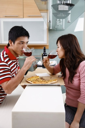 Man and woman drinking wine photo