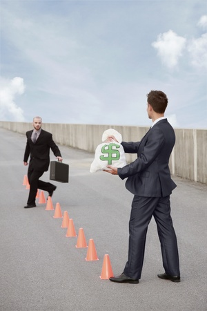 initiative: Businessman running in between traffic cones, another businessman holding a bag of money