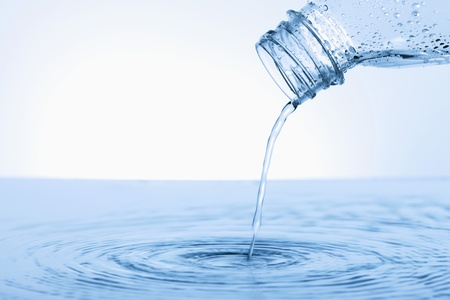 no water: Water pouring from plastic bottle Stock Photo
