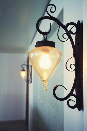 illuminated wall: Illuminated wall lamp in a hotel Stock Photo