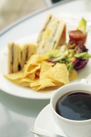 Close-up of club sandwich photo