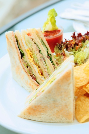 mouthwatering: Close-up of club sandwich Stock Photo