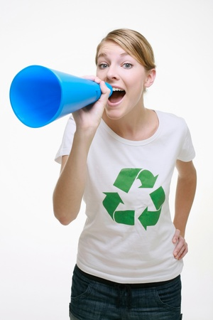 Woman shouting through a megaphone Stock Photo - 9287957