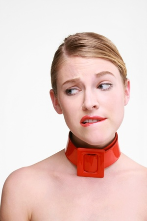 Woman with red belt on her neck photo