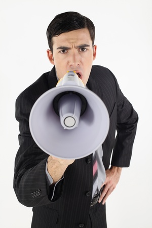 Businessman shouting through megaphone Stock Photo - 9288435