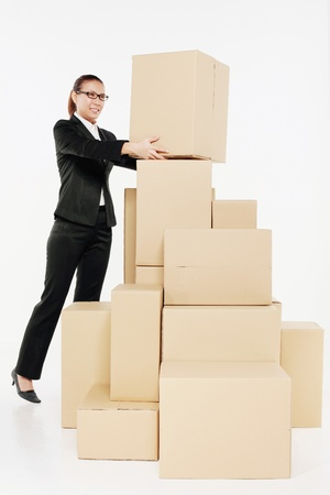 shifting:  Businesswoman shifting the boxes