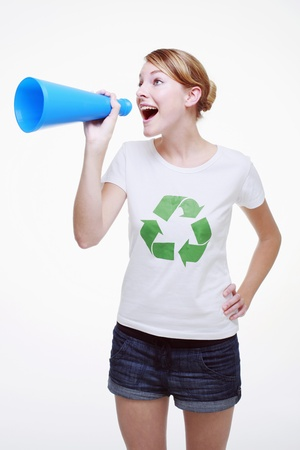 Woman shouting through a megaphone photo